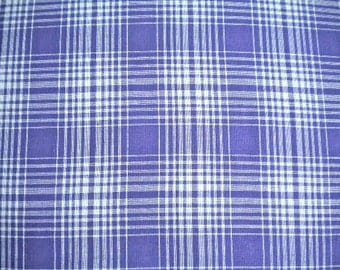 COTTON FABRIC, check cotton, vintage style dress cloth, purple check tartan, retro vintage fabric, Cotton, DIY craft project, plaid fabric