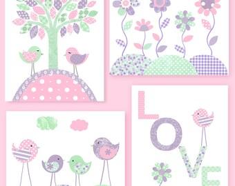 Bird Nursery Art Baby Girl Decor Love Print Flower Nursery Art Pink Mint Purple Lavender Baby Shower Gift Girl Room Decor Nursery Wall Art