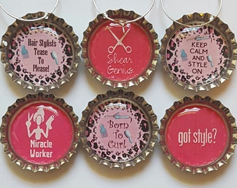 Hair Stylists Wine Charms