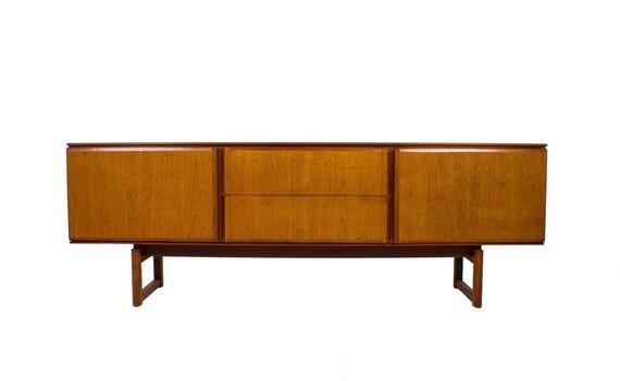 mid century modern minimalist teak credenza media console or. Black Bedroom Furniture Sets. Home Design Ideas