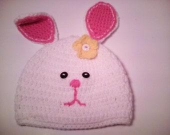Girls Crochet Bunny Hat, Easter Bunny Hat, Crochet Bunny Hat, Crochet Spring Hat