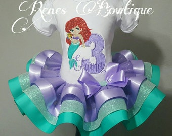 Deluxe Mermaid Birthday Ribbon Tutu Set | Birthday Party Outfit | The Little Mermaid | Ariel