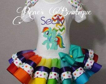 Rainbow Pony Ribbon Tutu Set