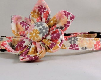 Cat Collar and Flower or Bow Tie - Spring Flowers