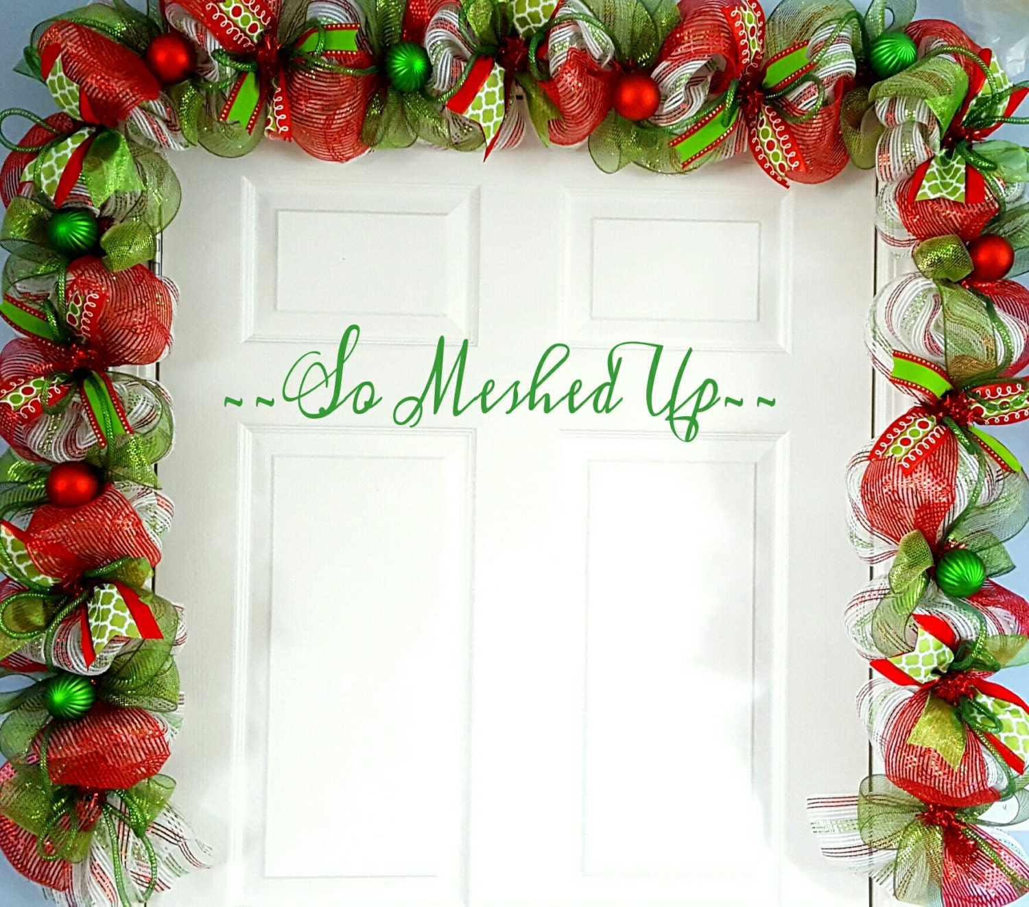 10 Whimsical Christmas Deco Mesh Garland In Green Apple