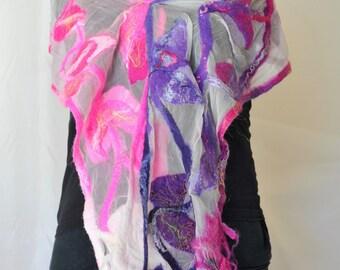 Nuno Felted Scarf Wool Silk Felt Scarf Multicolors OOAK Felt Gift