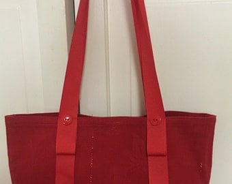 Christmas red single placemat shoulder hand bag