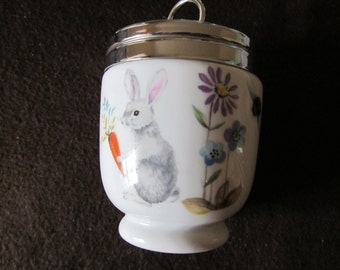 Royal Worcester A Skippety Tale Egg Coddler, Rare Large Two Egg  Size,   Collectible China Vintage Serving.