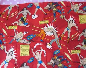 Wrestling Fabric, Red Fat Quarter,Fabric, Fun Boys Project Fabric.