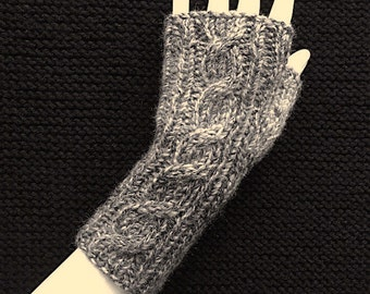 Knit Fingerless Gloves, Grey Hand Warmers, Fingerless Mitts, Cable Back, Marble Grey, FG-CB103