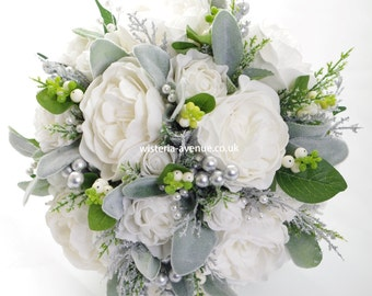 Winter White Artificial Brides Bouquet