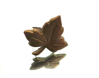 Grape leaf bronze ring, hand sculpted Art Clay bronze leaf, 925 Sterling silver adjustable ring, statement ring, bronze ring, grape ring