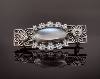 Antique Silver Pin Brooch with Faux Moonstone in Filigree