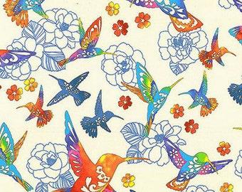 Colorful Hummingbirds: Cream 'Flight of Colors' Asian Japanese Kona Bay Fabric (Per 1/2 Yd)