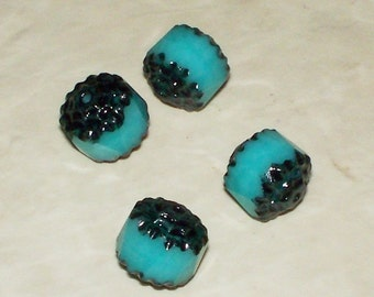 Czech Black Turquoise Cathedral Beads - 8MM