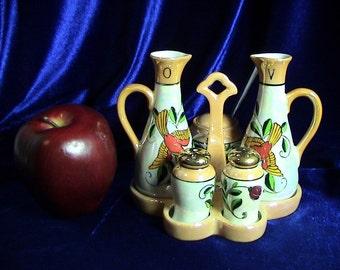 Vintage Chikaramachi Peach Lusterware Oil and Vinegar, S&P, Condiment Set (216)