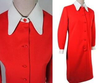 Mod VIntage shirt dress 70s. Red orange. white wing collar. Color block. White cuffs. L size.