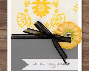 Sympathy Heartfelt Yellow Silk flower card