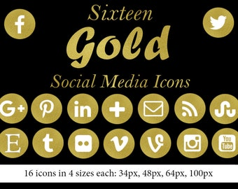 Gold Social Media Icons - 16 Icons in 4 sizes each- Round Gold Foil Icons