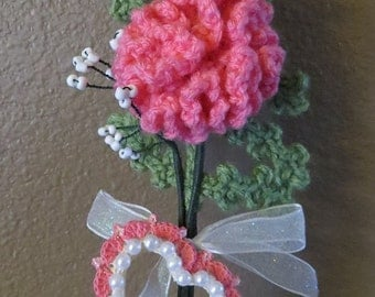 Crochet Pink Carnation Flower Green Leaf Pearl Heart