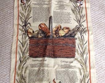 Vintage Irish linen tea towel with bread recipes