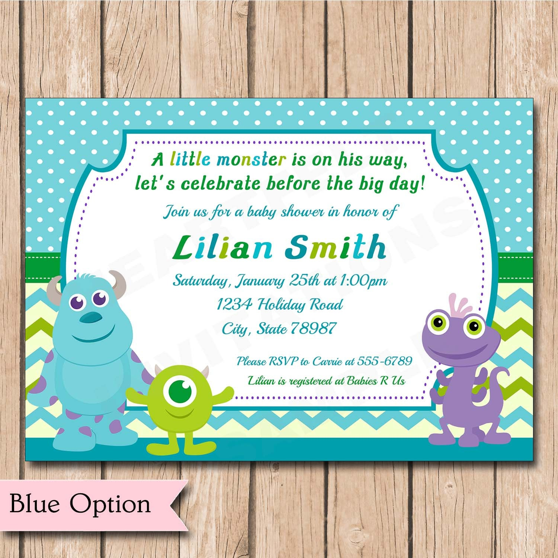 mini monsters inc baby shower invitation by heartfeltinvitations