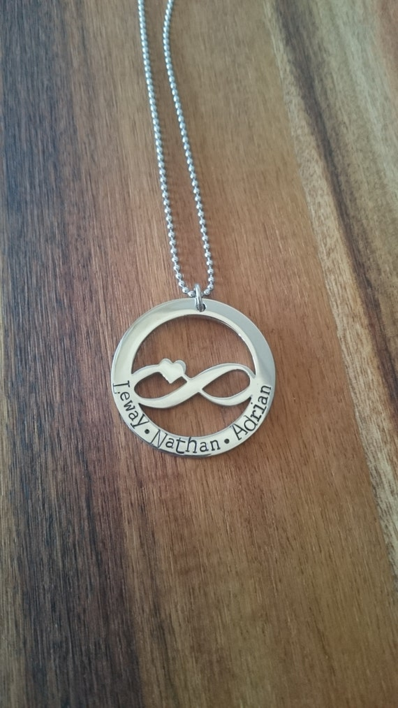 Hand Stamped infinity Necklace- Stainless Steel