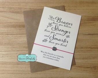 Braver Friendship Bracelet, You are BRAVER than you Believe Square Wish Bracelet, Courage, Strength, Greeting Card, Handmade