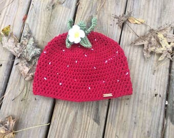 Strawberry beanie hat, Red Hat, Beanie, Fall Hat, photo prop - all sizes from Preemie to adult available made to order