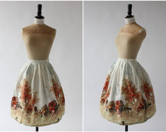 Vintage 1950s 50s lk novelty print cotton skirt wagons scenic country German UK 6 8 US 2 4 XS S
