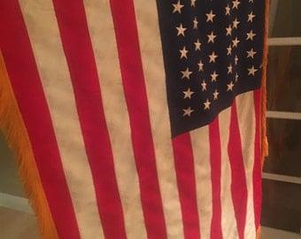 Vintage Large Satin 48 Star American Flag On Pole With Fringe