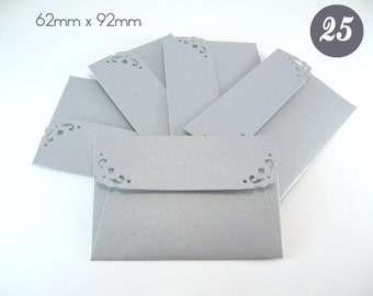 25 Mini Envelopes with notecards - Metallic Silver Envelopes - Wedding Guest Book Envelopes - Small Gift Card Envelopes