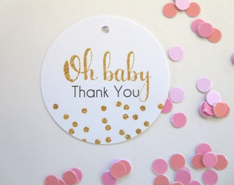 Gold Glitter Confetti Oh Baby Thank you Gift Tags/ Baby Shower Favour Tags x 20