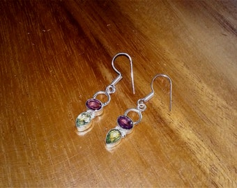 gemstone earrings garnet  earrings  sterling silver