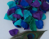 200 Purple Green Blue Peacock  Rose Petals. Confetti flower Peacock .