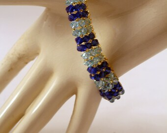 Dark Blue and Medium Blue Crystal Bracelet
