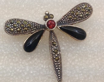 Sterling silver dragonfly ones,garnet and marcasite brooch.
