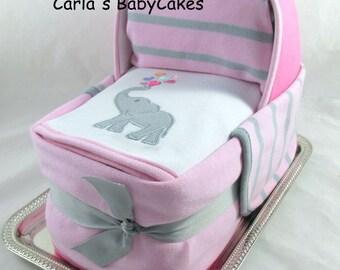 Diaper Cake Bassinet   Baby Shower gift   Baby Diaper Cake   New Mom Gift   Unique Baby Gift   Baby Shower Decoration   Baby sprinkle gift