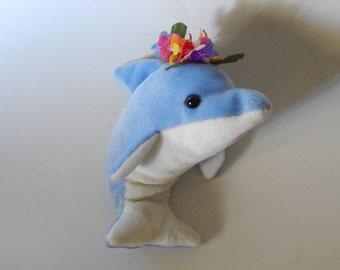 "7 1/2"" Dolphin Plushy Bean Bag Blue White Lei Hawaiian Necklace"