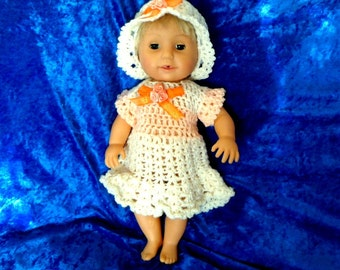 TINY TEARS DRESS and bonnet.Dolls clothes.