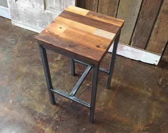 Reclaimed Wood Patchwork Barn Wood Bar Stools, Industrial Stool, Hand Welded Steel Base and Eco-Friendly Finish