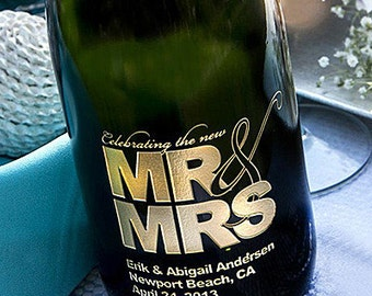 Mr & Mrs Etched Wine