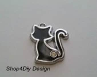 Sitting Black Cat Charm with Rhinestone