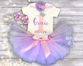 Princess 1st Birthday Girl Outfit Pink and Purple Birthday Outfit, Princess Tutu Birthday Outfit Includes: Top, Tutu, Headband, Sandals