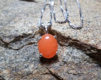 Neon Orange Jade Necklace, Orange Necklace, Fine Jewelry, Orange Stone Necklace, Gemstone Necklace, Jade Jewelry, Sterling Silver Necklace