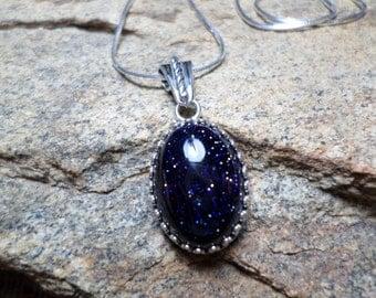 Blue Sandstone Pendant,Blue Sandstone Jewlry,Blue Goldstone,Stone Of Stars,Blue Necklace