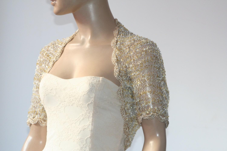 Wedding bridal bolero shrug lace crochet shrug boleros gold for Lace shrugs for wedding dresses