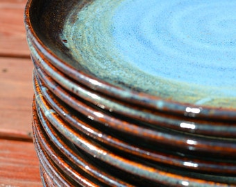 Stoneware Dinnerware Plate Cobalt Blue and Mahogany Brown