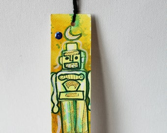 Original Retro Robot Art Painted Bookmark