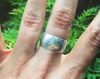 Sterling silver hammered ring size 8